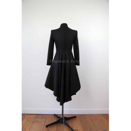 Big lapel 100% wool coat marine style