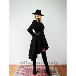Manteau hiver asymétrique en laine noire col mao manches longues
