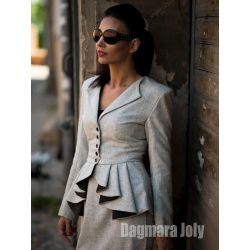 Women gray peplum jacket