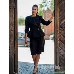 Two pieces black pencil skirt suit
