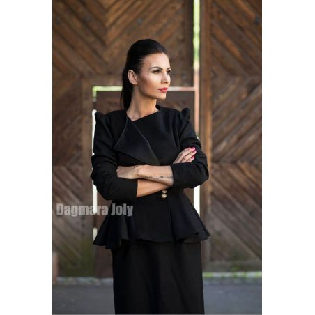 Women black peplum jacket