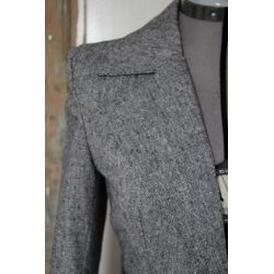 Women gray tweed peplum jacket