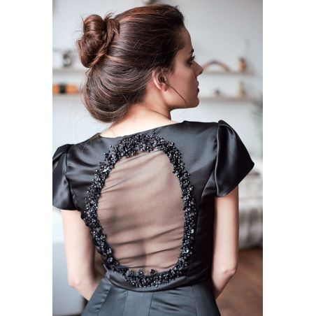 Black open back dress nand embroidered, one of a akind