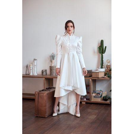 White wedding high low coat