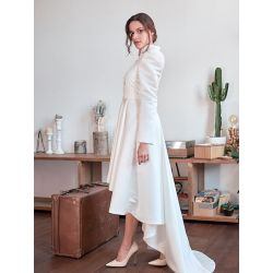 White wedding high low coat