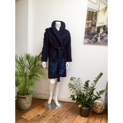 """NAVY"" oversized shawl collar coat"