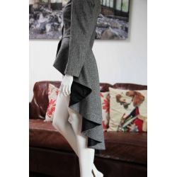 Asymmetrical Women's Gray Tweed Jacket
