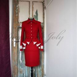 Tailleur jupe rouge