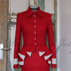 red peplum jacket