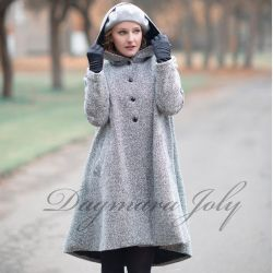 Gray short hooded swing coat