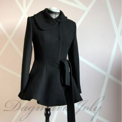 Black fit and flare ladies short coat