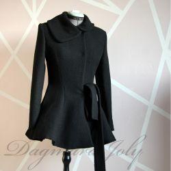 Manteau noir court femme portefeuille