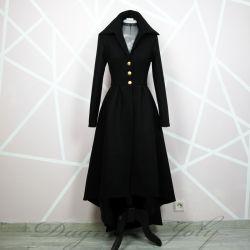 Ladies black asymmetrical coat
