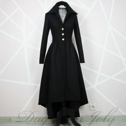 Ladies black asymmetrical coat