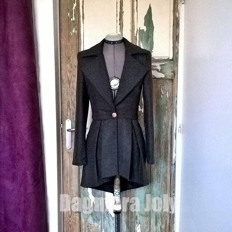 Gray asymmetrical ladies jacket