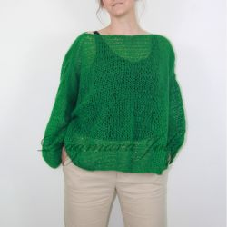 Hand knitted oversized loose green sweater