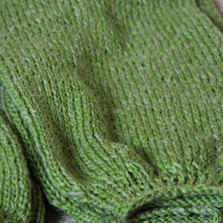 One of a kind green lin hand knitted sweater