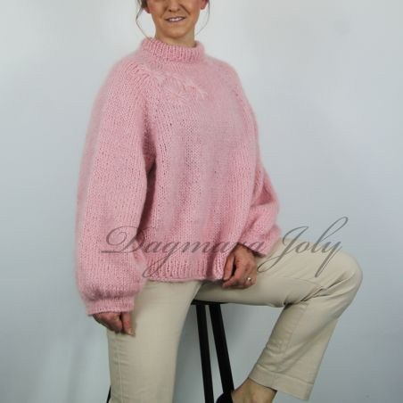 Hand knitted pink mohair sweater