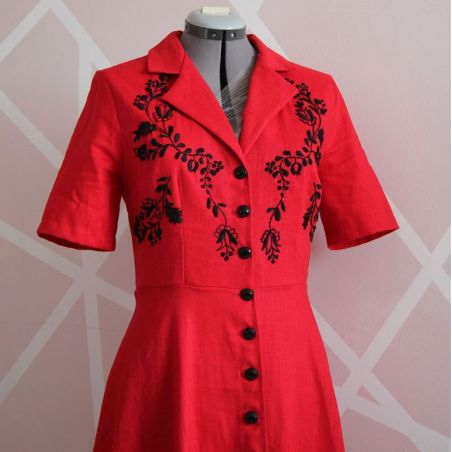 Linen short sleeves red hand embroidered shirt dress