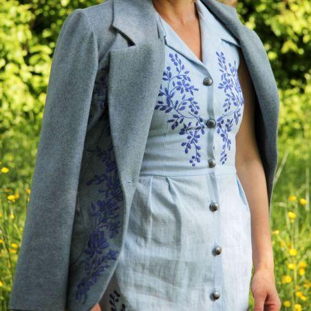 Linen sleeveless blue hand embroidered shirt pencil dress