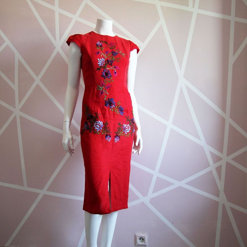 One of a kind linen hand embroidered red pencil dress