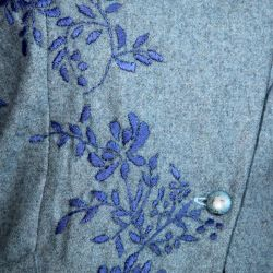 Blue hand embroidered woolen jacket