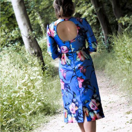 Blue pencil open back dress