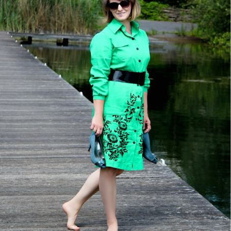 Linen long sleeves green hand embroidered shirt dress