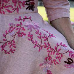 Linen short sleeves pink hand embroidered deep v neck swing dress