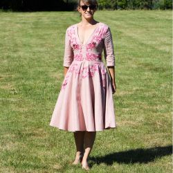 Linen short sleeves pink hand embroidered deep v neck swing dress