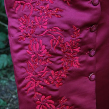 Dark red hand embroidered short sleeves coat dress