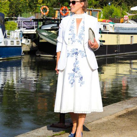 Off white halter hand embroidered linen dress