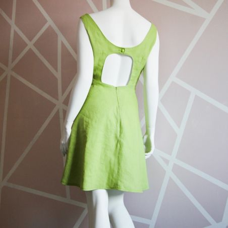Green linen short hand embroidered dress with open back