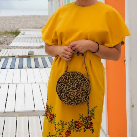 Ladies yellow pencil dress hand embroidered in a floral motif