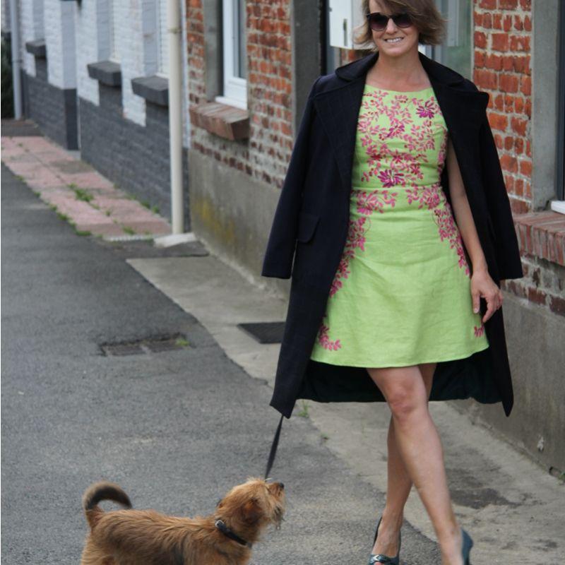 Green linen short hand embroidered ladies dress open back