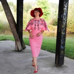 Ladies open back pink pencil linen dress hand embroidered in a floral motives