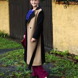 Below Knee length straight cut belted ladies coat