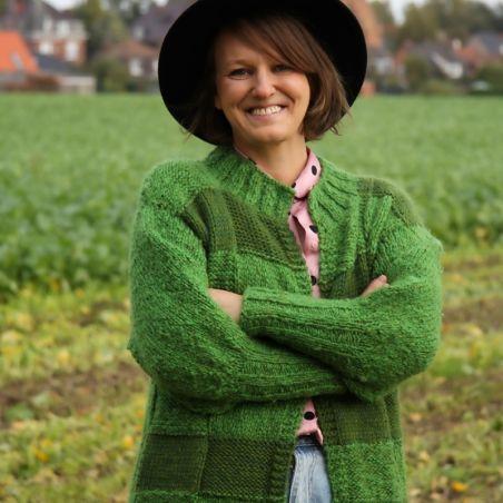 Hand knit green long sweater