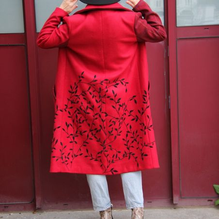 Red long ladies coat trench