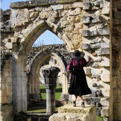 Linen short sleeves black hand embroidered open back swing dress