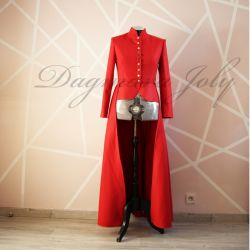 Red long peplum jacket