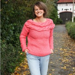 Hand knitted coral sweater, ready to ship