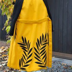 Mustard below knee ladies raglan sleeves coat