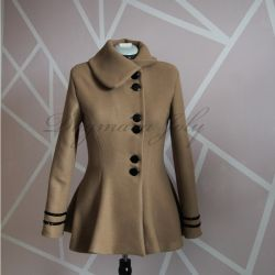 Ladies camel fit and flare wrap short coat