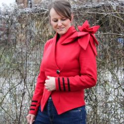 Red asymmetrical original ladies jacket