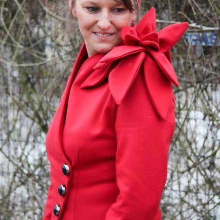 Red asymmetrical original ladies jacket
