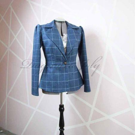 Blue check ladies peplum jacket