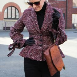Ladies tweed tuxedo fit and flare jacket