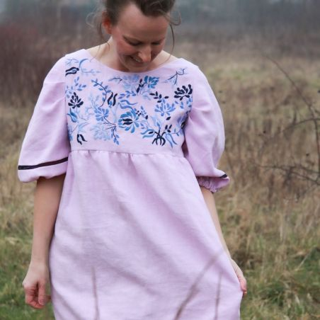 Violet short hand embroidered linen dress, ready to ship