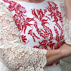 White hand embroidered guipure lace ladies dress